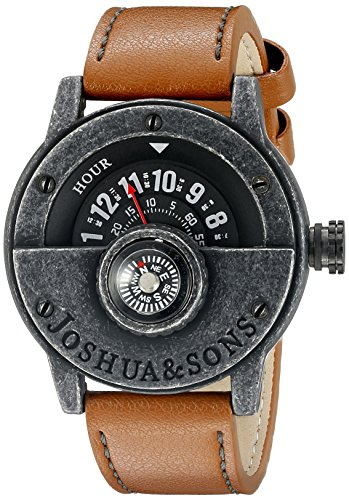 Joshua & Sons Men's JX116BKBR Compass Watch with Brown Strap
