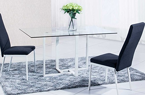 Mesa de comedor cristal para salón con patas pintadas en blanco modelo VERONA - Sedutahome