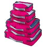 G4Free 6-Teilig Kleidertaschen Packtaschen Kofferorganizer Reisetaschen Packwürfel Set (F-Rose)