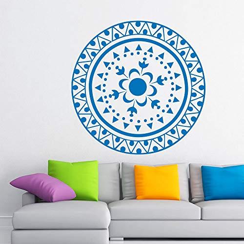 lyclff Heißer Wandaufkleber Mandala Yoga Ornament Indischer Buddha l Aufkleber Kunst Aufkleber Lotus Blume Wohnzimmer ~ 1 84 * 84 cm
