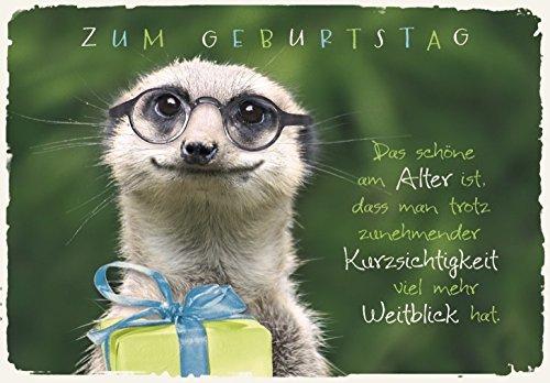 DeCoArt... Geburtstagskarte Erdmännchen Brille Geschenk mit Umschlag 11,5 x 16,6 cm
