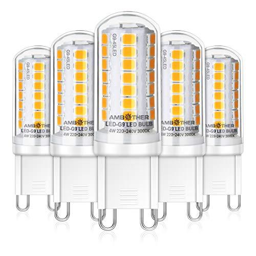AMBOTHER 4W G9 LED Lampe, 500LM Kein Flackern, Warmweiß 3000K G9 LED Birne, Nicht Dimmbar Leuchtmittel, 360° Abstrahlwinkel, AC 220-240V 5er Pack