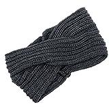 Fletion Damen Mädchen Herbst Winter Warme Stricken Wolle Haarband Geknotete Stirnband Kopf Warp Turban Haarreif, Dunkelgrau