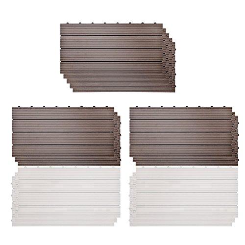 SIENOC WPC DIY teja la corrosión anti del suelo al aire libre compuesto plástico de madera (30x60 cm, 11 piezas Nuevo marrón claro)