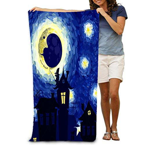 zexuandiy Unisex Beach Towels Bath Towels for Teen Girls Adults Travel Towel Washcloth 31x51 Inches Starry Night Style Van Gogh Halloween Background Charming