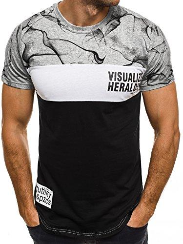 OZONEE Herren T-Shirt mit Motiv Kurzarm Rundhals Figurbetont J.STYLE SS012 Grau_JS-SS111