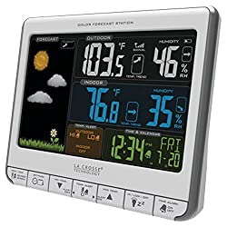 La Crosse Technology 308-1412S Color LCD Wireless Weather Station with USB Charging Port and Customizable Temperature Alerts by La Crosse Technology