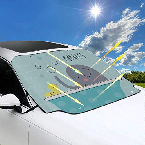 Cubierta plegable de la sombrilla Elefante de dibujos animados en burbuja Parabrisas del coche pequeño Sombrilla 57.9x46.5 pulgadas (147cmx118cm) para la mayoría de los vehículos Proteja el parabrisa