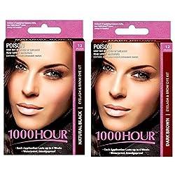 1000Hour Combo Pack 1000 Hour Eyelash & Brow Dye / Tint Kit Permanent Mascara (Black & Dark Brown)