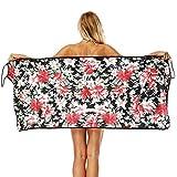 PYHQ Negro Floral Toalla de Playa baño Cubierta de Playa V Honda Vestido Ajustado