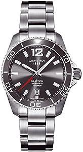 Certina 0 - Reloj de cuarzo para hombre, con correa de titanio, color plateado de Certina