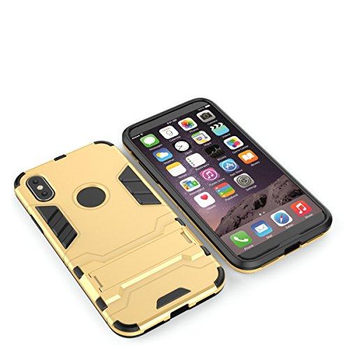 """MOONCASE iPhone X Coque, Dual Layer Hybrid Armure Protection Housse Slim Fit Antichoc Bumper avec Support Fonction Étuis Cases pour iPhone X 5.8"""" Bleu Foncé Gris"""