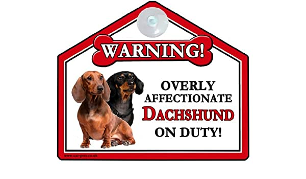 DACHSHUND Dog Gift can also be nailed to gates or fences. for car or house windows High Gloss Plastic Warning Sign 6 x 7 with Suction Sign