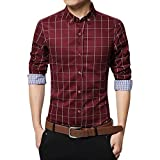 Zicac Mens Mercerized British Stylish Slim Fit Long Sleeve Plaid Printings Business Checked Casual Dress Turn-down Collar Pure Cotton Button Down Suit Shirt (UK:M (Asia Tag 2XL), Red)