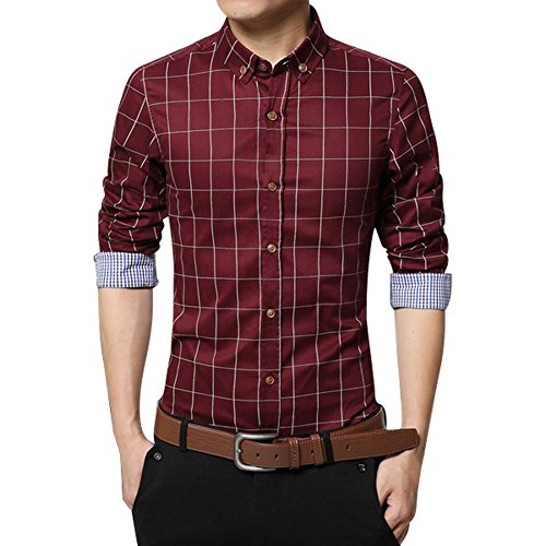 Zicac Mens Mercerized British Stylish Slim Fit Long Sleeve Plaid Printings Business Checked Casual Dress Turn-down Collar Pure Cotton Button Down Suit Shirt (UK:XL (Asia Tag 4XL), Red)
