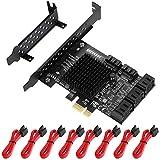 MZHOU Scheda PCIe SATA 8 Porte, Scheda di espansione Controller PCIe-SATA, Scheda PCIe SATA 3.0 8 Gbps con 8 Cavi SATA, Marvell 88SE9215 + JMicron JMB5xx Chip a 8 Porte, Supporto per HDD o SSD