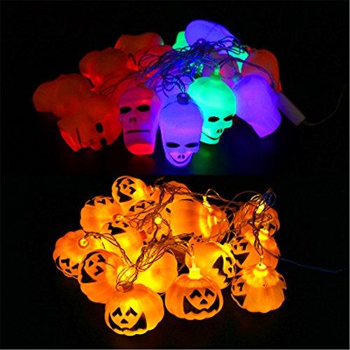 AAAHOMEEU 5Pcs Halloween LED-String Lichter Szene Dekoration Lichter Bar Dekoration Requisiten Geister glühende Kürbis Lichter Schädel Lichter