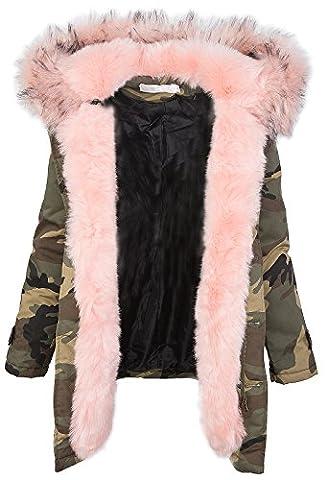 Damen Winter Parka Kunstfell Kapuze Army-Look warm [D-197 - Rosa - Gr. S]
