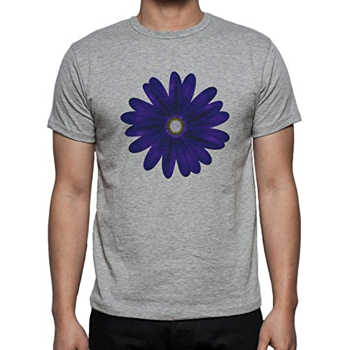 Flowers Nature Blossom Plant Dark Blue Herren T-Shirt Grau