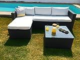 KieferGarden ARIZONA sofa Chaise Longue de exterior y mesa Gris Oscuro