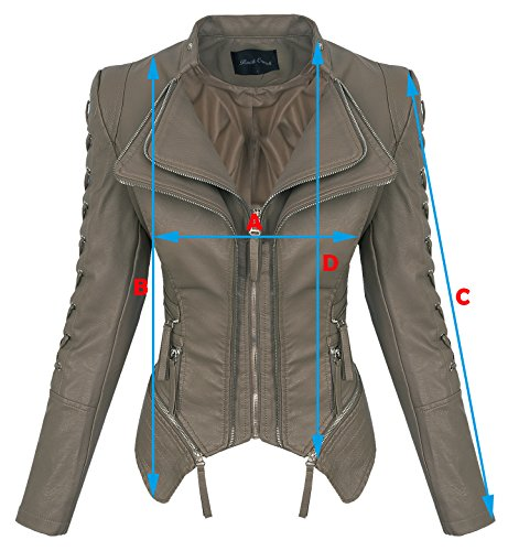 Rock Creek Damen Kunstleder Jacke Übergangs Jacke Leder Optik Bikerjacke D-365 [WS-967 Grey XS] - 2