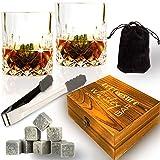 Pietra ollare whisky GLASSES set-13in 1-Best Scotch whisky set regalo con 8pietra ollare Chilling-2cristallo whisky occhiali e antiscivolo pinze-Cool whiskey bar set per uomo donna