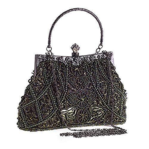 Yaouobag borse da sera e pochette da donna borsa da sposa vintage con perline e paillettes per donna elegante@oro
