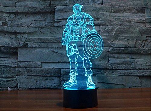 he Täuschung 2016 New Captain America Panel Nacht 7 Farbwechsel USB Touch Taste LED Schreibtisch Tabellen Licht Lampe Tischleuchte (Captain America-dekor)