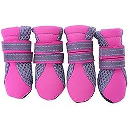 UEETEK Zapatos de Perro Botas Antideslizante para Mascotas Perro De Perrito - Tamaño S (Rosa Rojo)