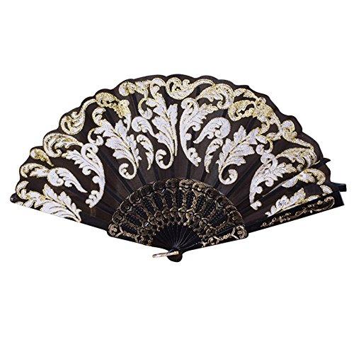 Ziyou Chinesischen/Spanischen Stil Tanz Hochzeit Spitze Seide Falten Hand Blume Fan(43cm, Schwarz) (Spanisch Kostüme Für Tanz)
