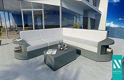 Designer Outdoor Luxus Rattan Lounge Sofa Atlantis Corner V1 Nativo© von NATIVO Deutschland auf Gartenmöbel von Du und Dein Garten