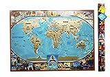 Poster da parete con mappa del mondo da grattare, edizione vintage