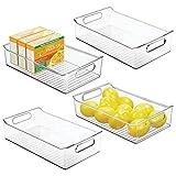 mDesign Juego de 4 fiambreras para el frigorífico - Cajas de plástico para guardar alimentos - Organizador de nevera para lácteos, frutas y otros alimentos - transparente