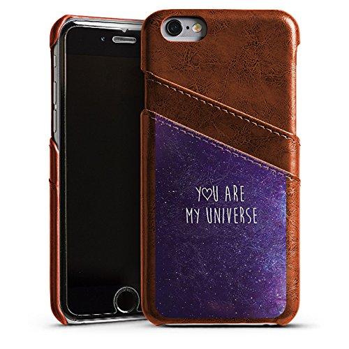 Apple iPhone 6 Plus Housse Étui Protection Coque Phrase Amour Amour Étui en cuir marron