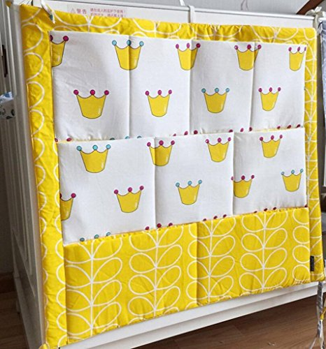 HENGSONG Kinderzimmer Mehrschichtige Beutel Organizer Baby-Bett Krippe Windeln Spielzeug Hängender Beutel Aufbewahrung Tasche 55*60CM (Gelb)