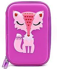 Cute Cool Fox Cartoon Art Purple Broad Pencil Pouch for Kids in Multipurpose Use