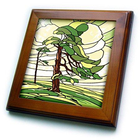 3dRose grün und gelb gebeizt Glas Kiefer Baum Design-Framed Fliesen, 8von 20,3cm (FT 220805_ 1)