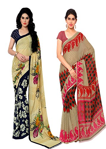 ANAND SAREES MULTI COLORED GEORGETTE PRINTED SAREES (COMBO PACK)  available at amazon for Rs.575