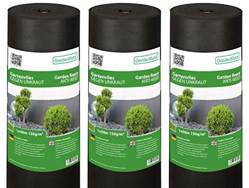 GardenMate 3X Rolle 1mx50m 150g/m² Premium Gartenvlies - Unkrautvlies Extrem Reißfestes Unkrautschutzvlies - Hohe UV-Stabilisierung - Wasserdurchlässig - 3x1mx50m² = 150m²