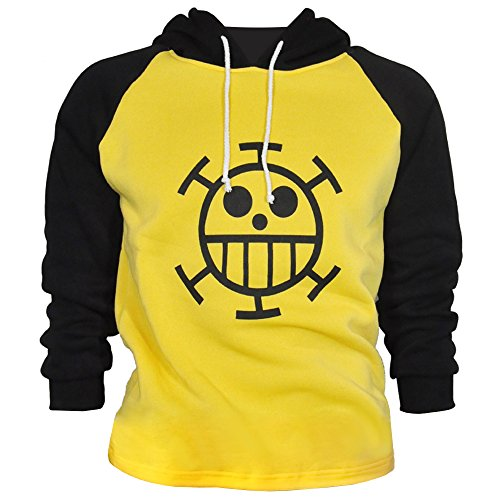 Trafalgar Law Kapuzen Longsleeve mit Jolly Roger der Heart Piratenbande (Medium) (Trafalgar Law Kostüme)