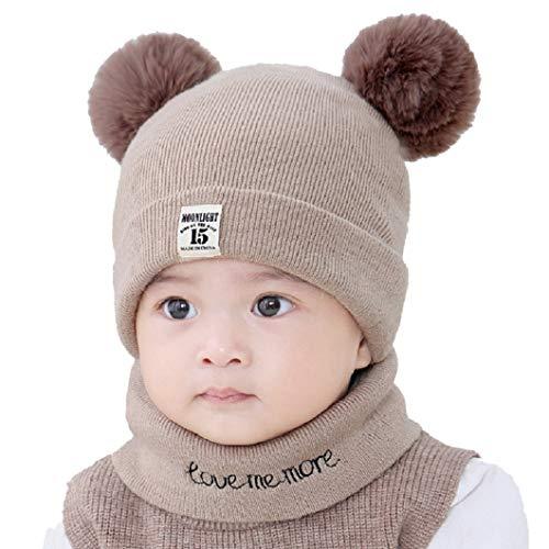 heekpek Unisex - Baby Mütze Beanie Strickmütze Unifarbe Winter mütze Baby Mütze Schal Setz (Kaffee)