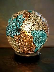 Lampe décorative - Lampe mosaïque bleu et chocolat