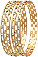 Jewels Galaxy Elegant Gold Aaa American Diamond Bangle Set For Women & Girls - Pack Of 2 (2.6)