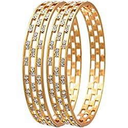 Jewels Galaxy White Gold-Plated Aaa American Diamond Bangle Set For Women