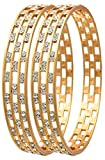 #6: Jewels Galaxy Elegant Gold Aaa American Diamond Bangle Set For Women & Girls - Pack Of 2 (2.6)