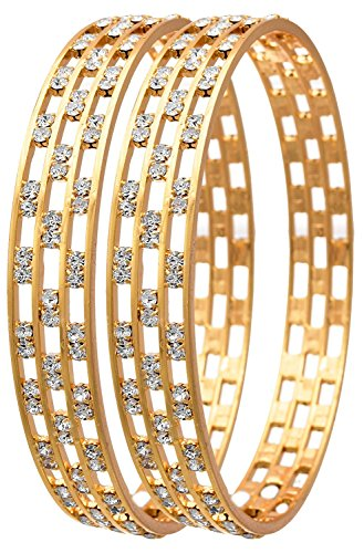 Jewels Galaxy Elegant Precious Aaa American Diamond Bangles For Girls Pack Of 2 (2.4)