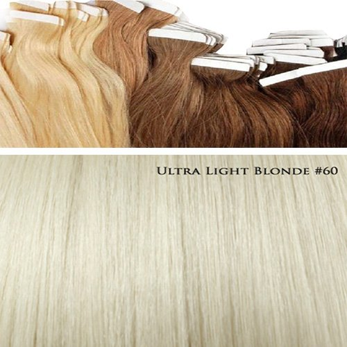 60 Tape In Extensions de cheveux en cheveux 50 cm # 60 Blond ultra light