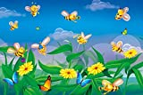 #7: Wallpaper For Children Bedroom, Bees and Butterfly Kids Peel and Stick Wallpaper, By Walls and Murals (70 X 104 CM)