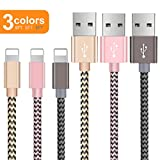 OTISA 3er Pack(3 * 1.5M) Nylon iPhone Datenkabel mit Lightning Stecker Ladekabel für Apple iPhone X/8/7 Plus/6 Plus/6/5/5S/6s iPad 4 iPad Mini/Air(Gold+PINK+GRAU)