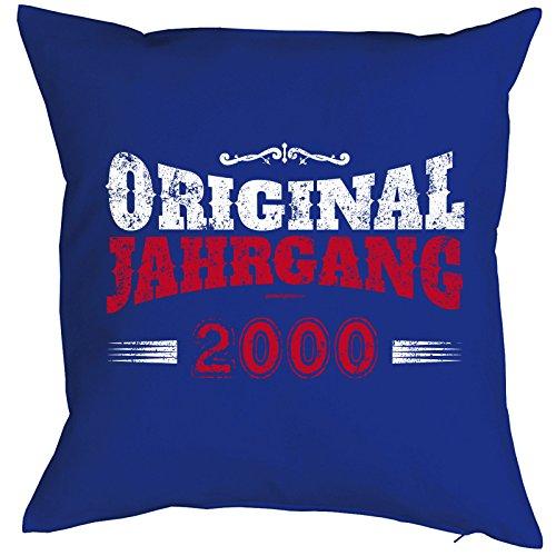 (cooler Print - zur Volljährigkeit Geschenke Idee zum 18 Geburtstag - Kissen mit Innenkissen - ORIGINAL 2000 JAHRGANG Geburtsjahr 40x40 : ))